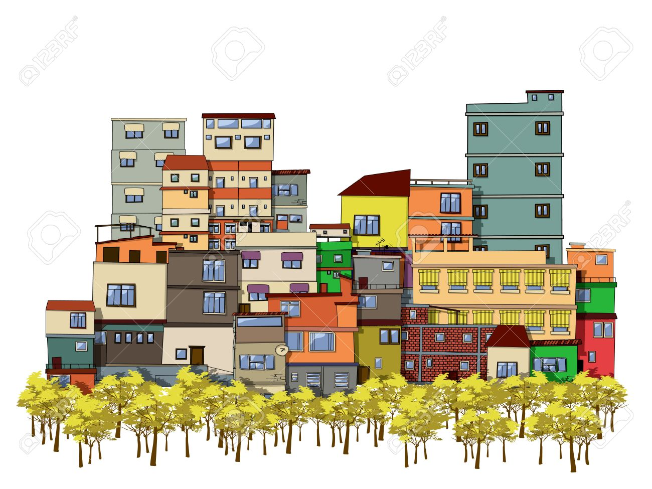 1300x975 Cartoon Drawing Of A City With Trees And Houses Royalty Free