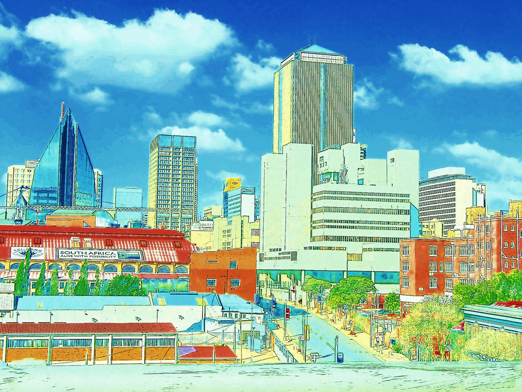 1024x768 South Africa Johannesburg City Cartoon Drawing By Kieterah