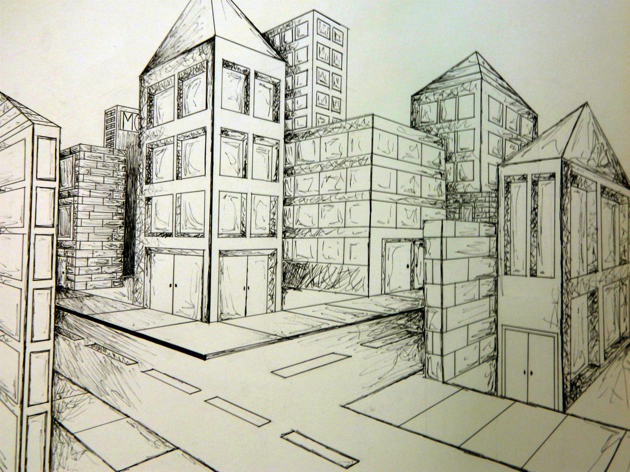 2640x1980 2 Point Perspective City Art Perspective, City
