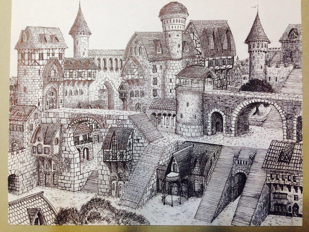 1024x768 Fantasy City Drawing By Dracarysdrekkar7