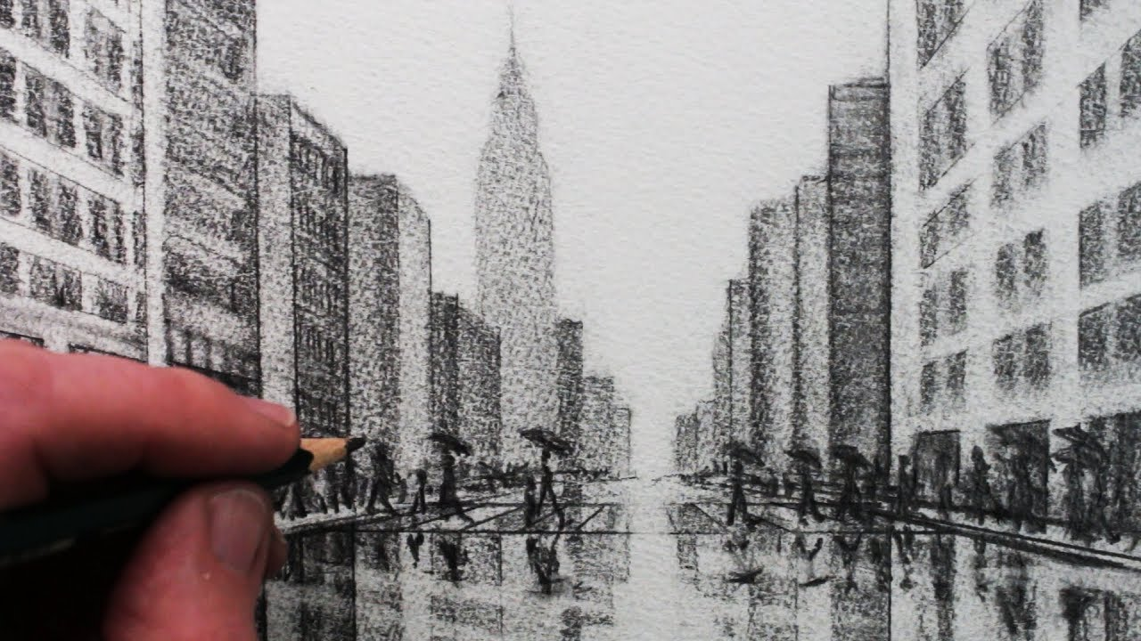 1280x720 How To Draw A City Tonal Pencil Drawing
