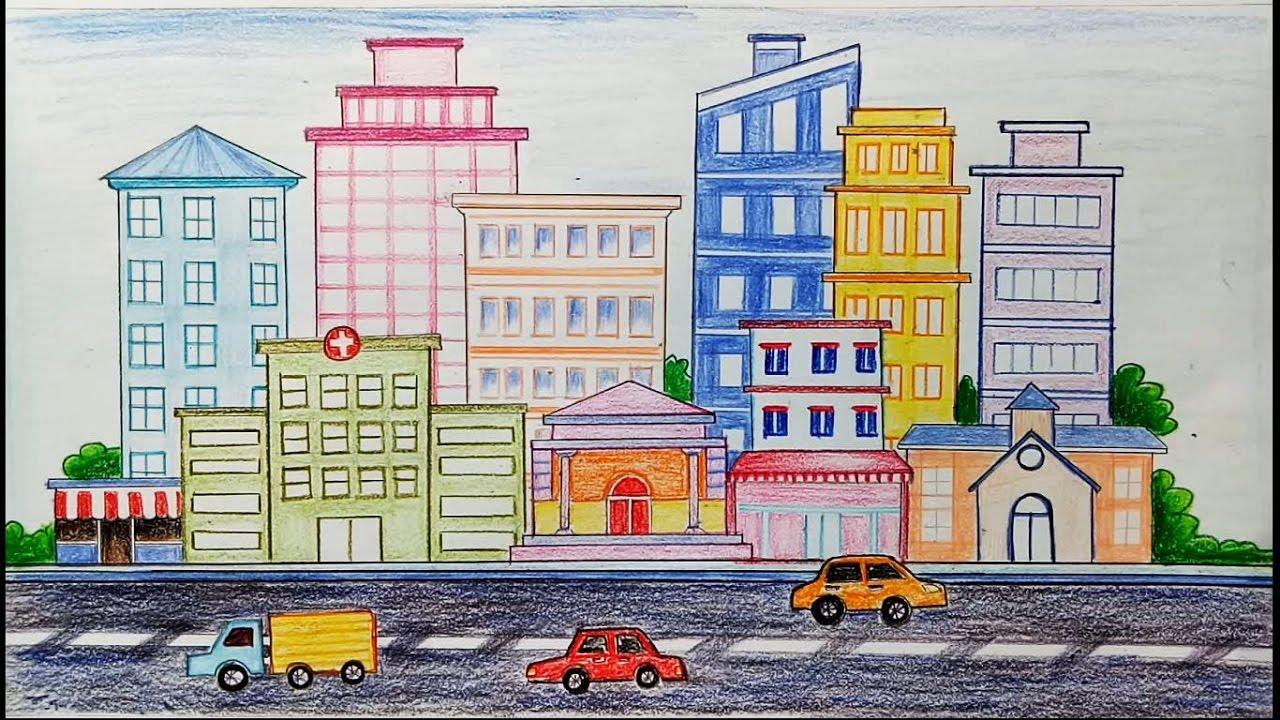 1280x720 How To Draw City Scene Step By Step