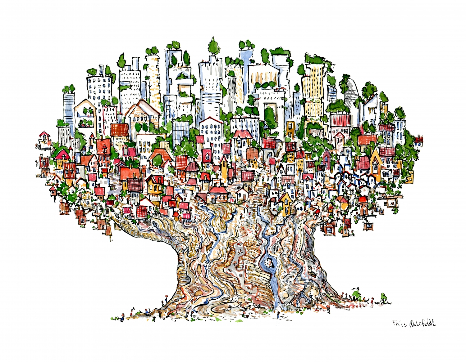 1500x1167 Tree City Drawing The Hiking Artist Project By Frits Ahlefeldt