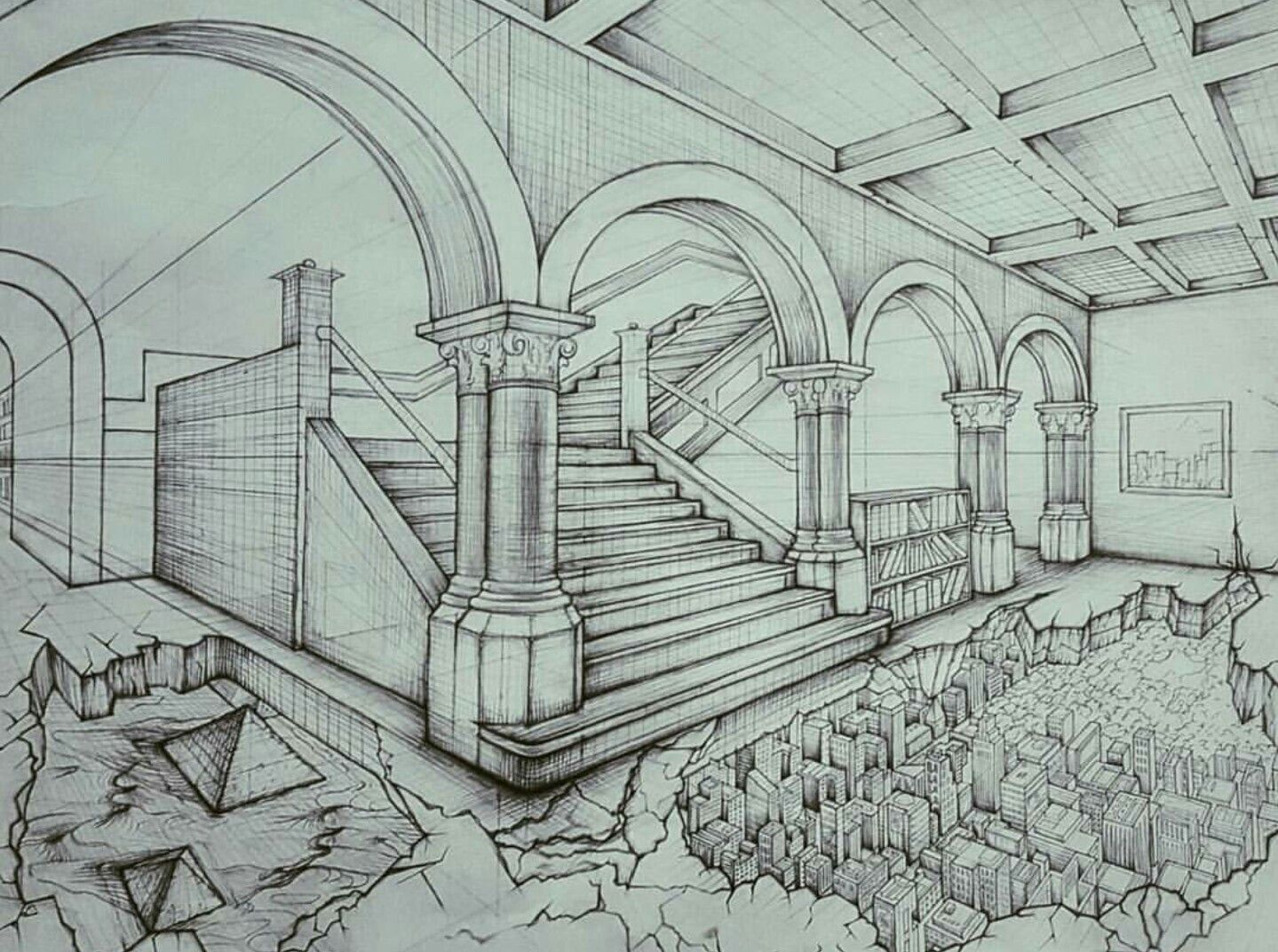 1439x1072 2 Point Perspective Graphite Drawing Of Library City Landscape