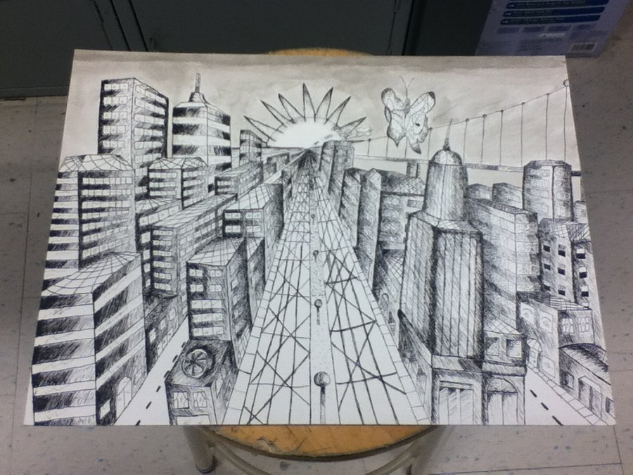 900x675 City Landscape (Pen And Ink) By Shadowwiidragon