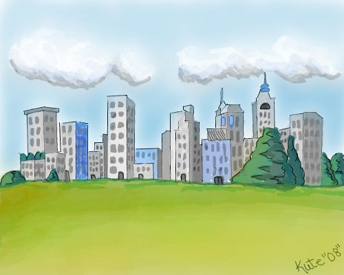 500x400 City Life A Landscape Speedpaint Drawing By Kutedymples