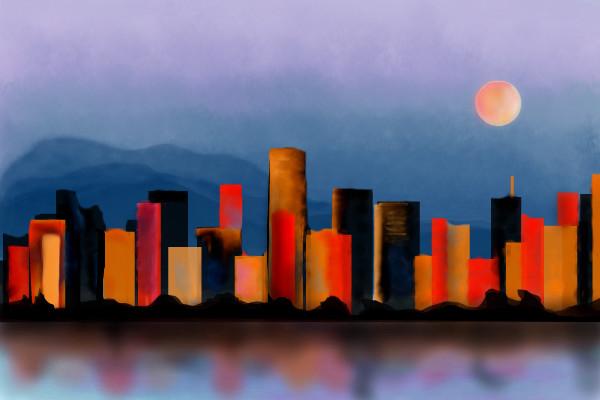 600x400 City On Fire A Landscape Speedpaint Drawing By Hanneke