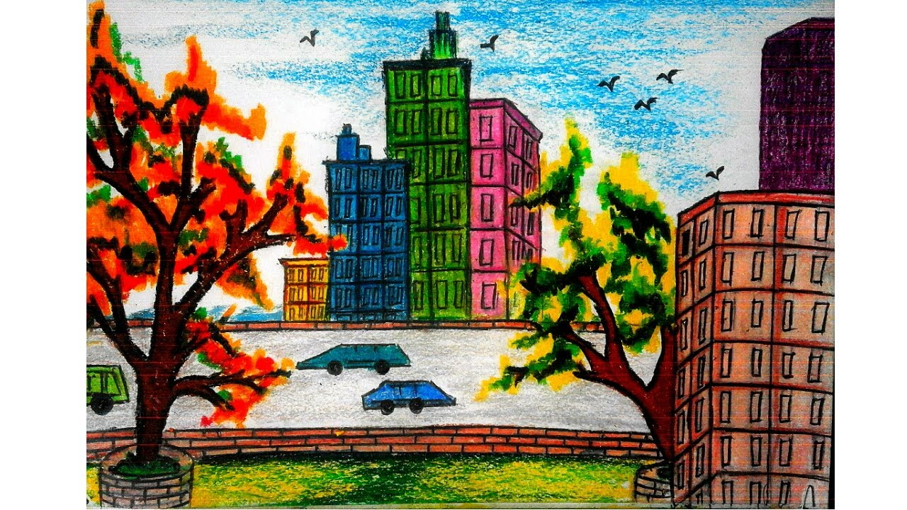 1280x720 How To Draw A City Landscape Drawing In Tha World