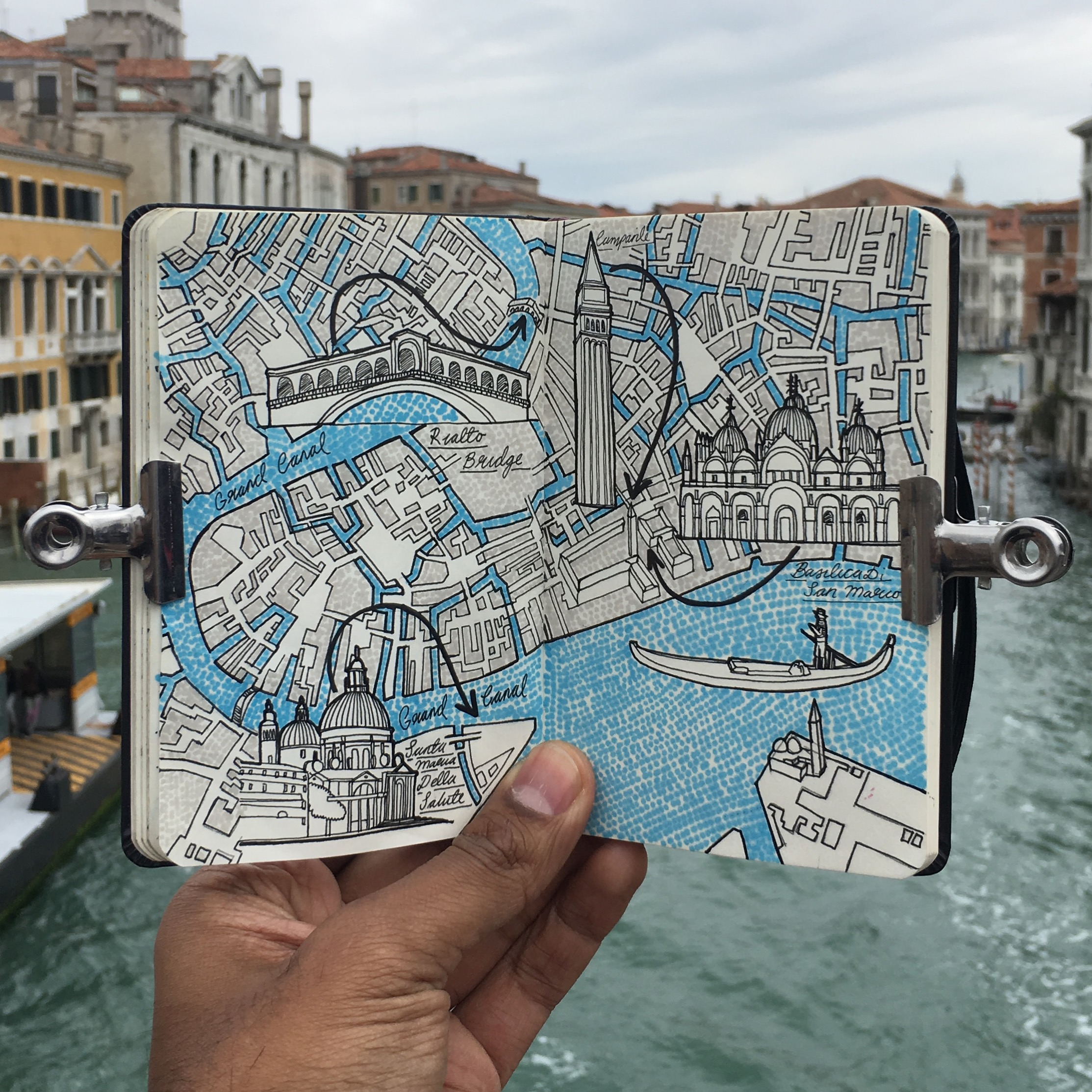 2227x2227 City Day Trip Map Drawing Of Venice, Italy