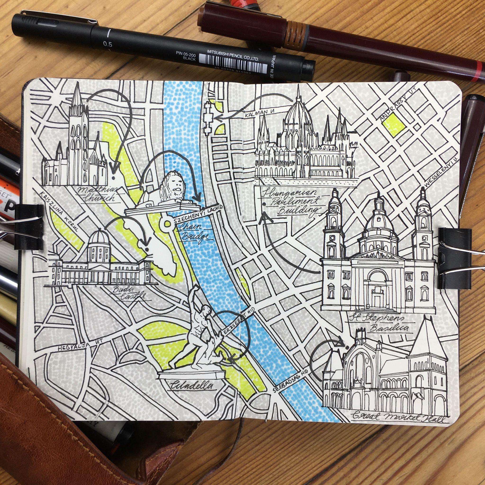 2048x2048 City Map Drawing Of Budapest Design Stuff City