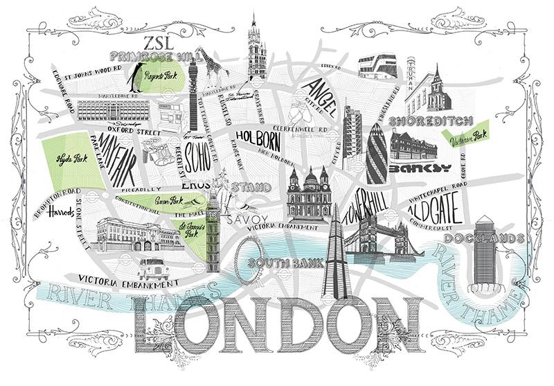 800x557 Hand Drawn London City Map