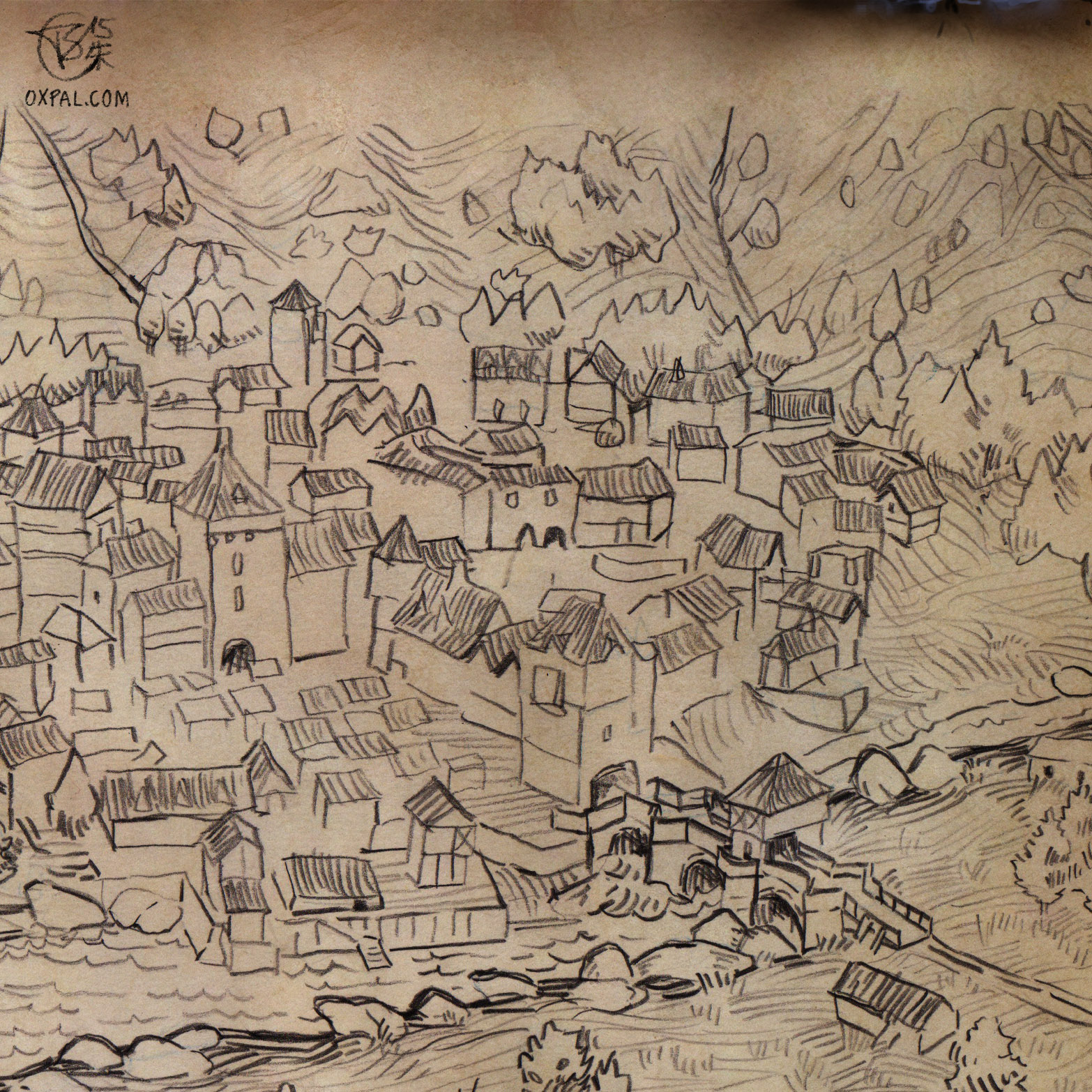 1566x1566 Hand Drawn Medieval Town Map Thomas Schmall