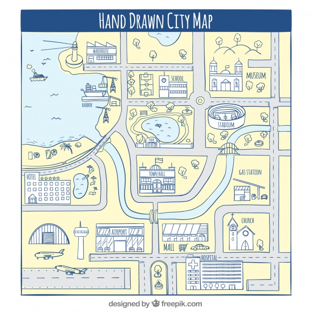 626x626 Hand Drawn City Map Vector Free Download
