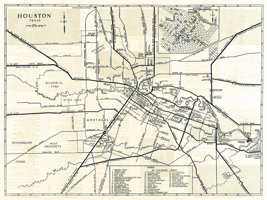 900x673 Houston City Hand Drawn Map 1935 Photograph By Daniel Hagerman