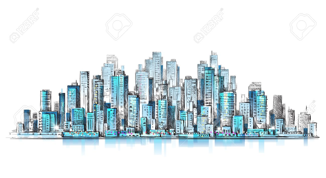 1300x710 City Panorama, Hand Drawn Cityscape, Drawing Illustration Royalty