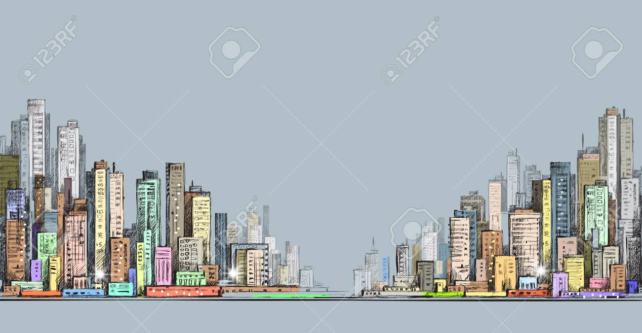 1300x676 City Panorama, Hand Drawn Cityscape Drawing Illustration Royalty