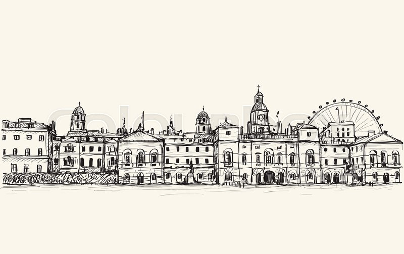 800x503 City Scape Drawing In London, England, Show Old Castle