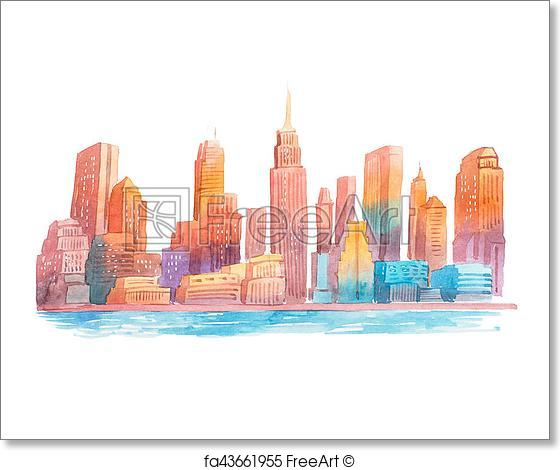 560x470 Free Art Print Of Watercolor Drawing Evening City