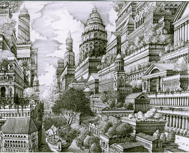 740x602 Intricate Cityscape Drawings By Benjamin Sack Drawings, American