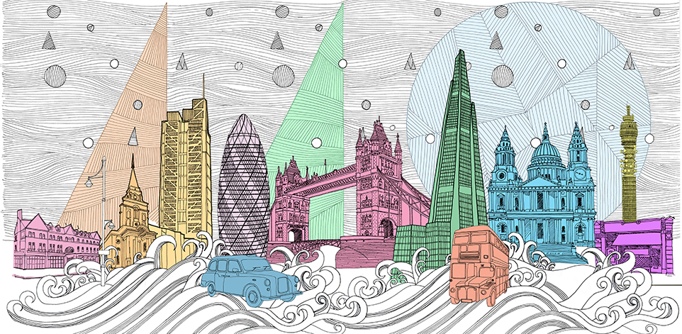 962x471 London Cityscape Drawing