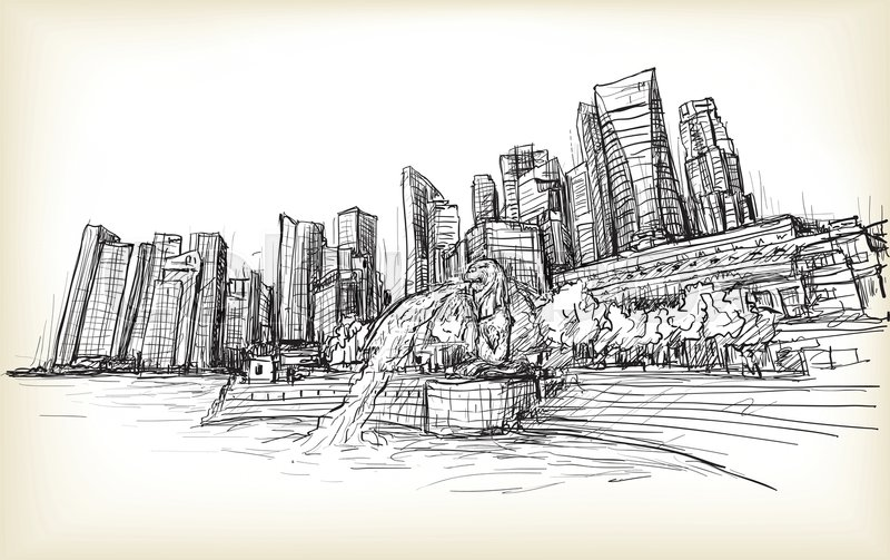 800x503 Sketch City Scape Of Singapore Skyline With Merlion Fountain