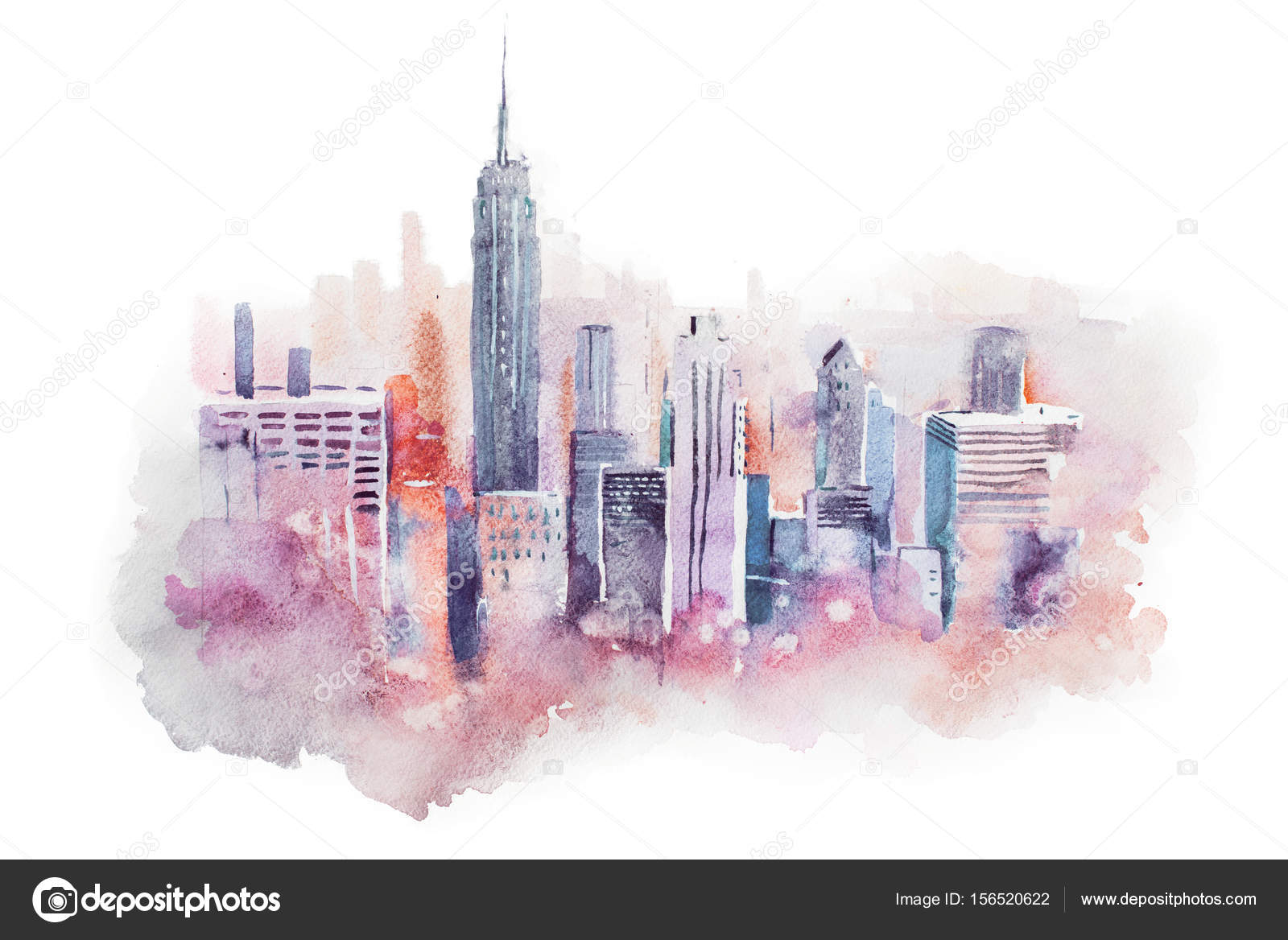 1600x1168 Watercolor Drawing Cityscape Big City Downtown, Aquarelle Painting