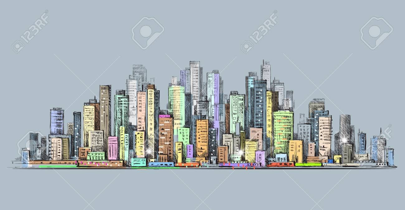 1300x676 City Skyline Panorama, Hand Drawn Cityscape, Drawing Architecture