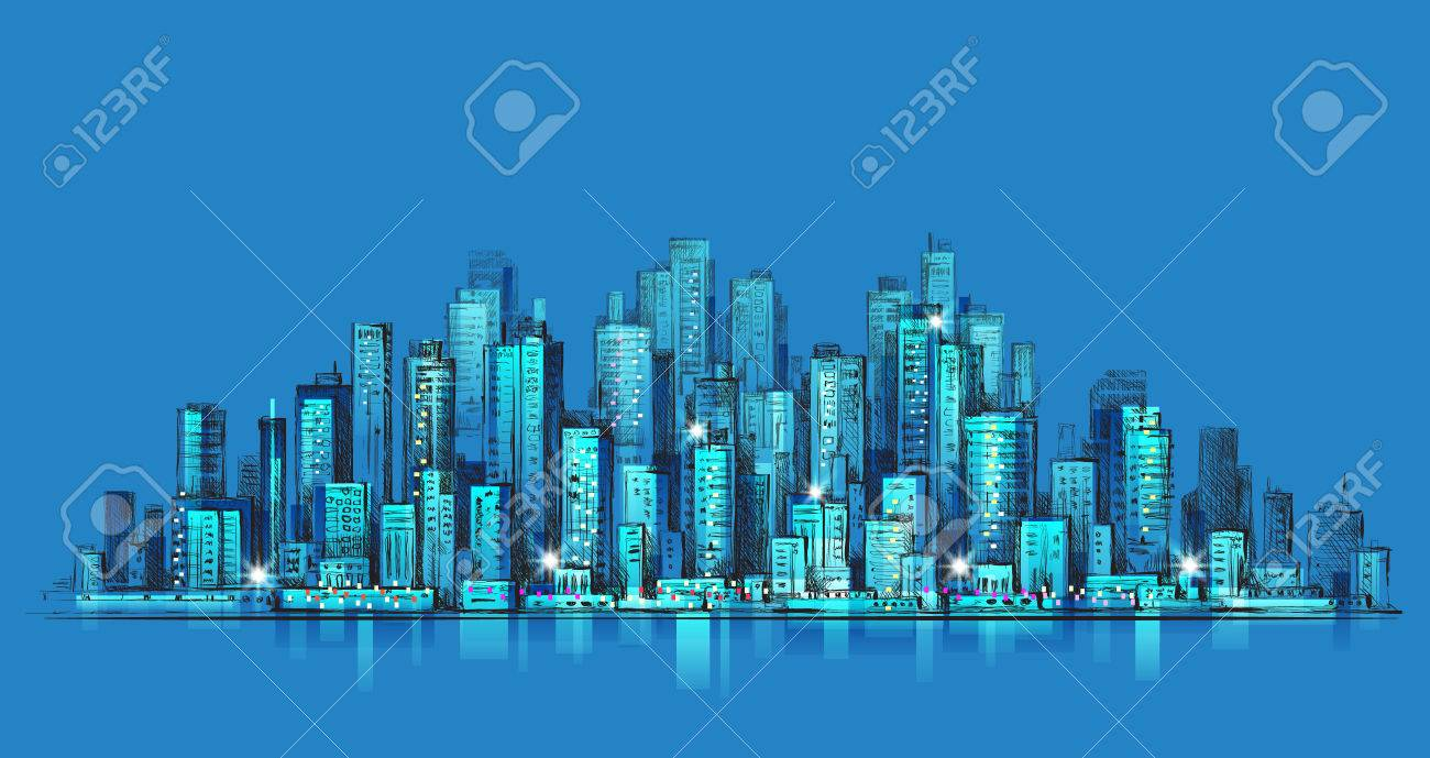 1300x689 City Skyline Panorama At Night, Hand Drawn Cityscape, Drawing