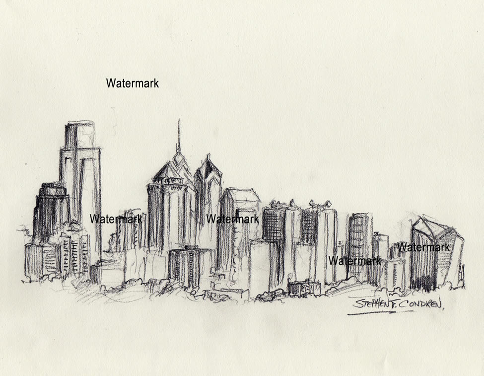 975x757 Philadelphia Skyline Charcoal Drawing Of Downtown Skyscrapers