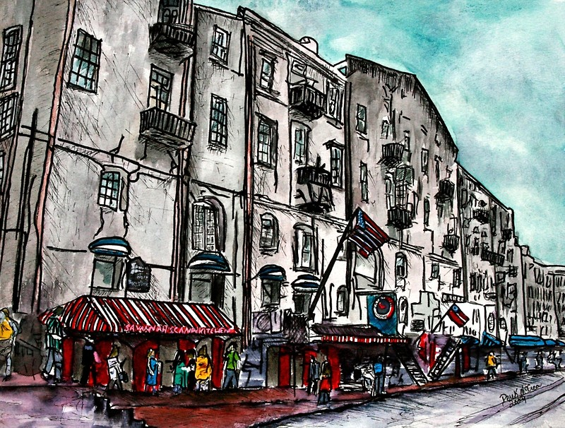 800x606 Savannah Georgia Usa Watercolour And Ink Cityscape Drawing Canvas
