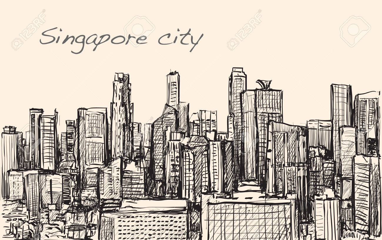 1300x818 Sketch Cityscape Of Singapore Building Skyline, Free Hand Draw