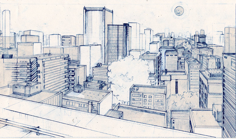 800x471 Cityscape Line Drawing