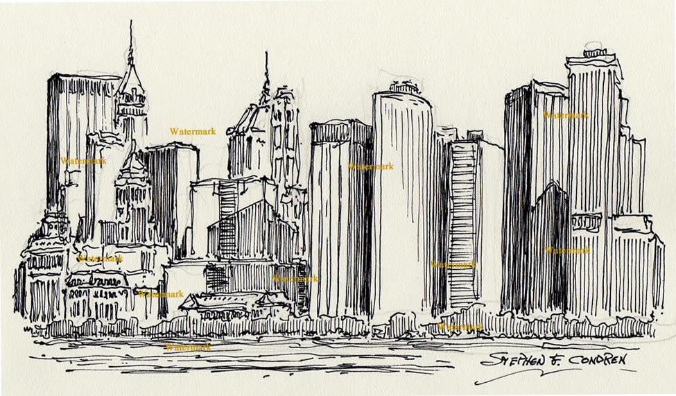 975x571 Skyline Black Pen Amp Ink Drawing Of Lower Manhattan Skyscrapers.