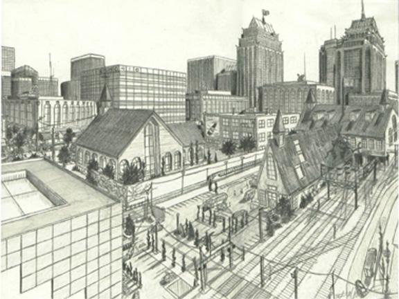 576x432 Pencil Cityscape By Tbonematrix