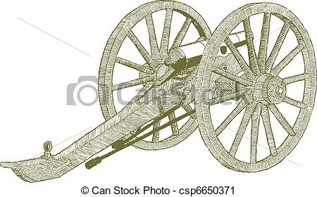450x280 Woodcut Style Illustration Of A Civil War Cannon. Vector Clip Art