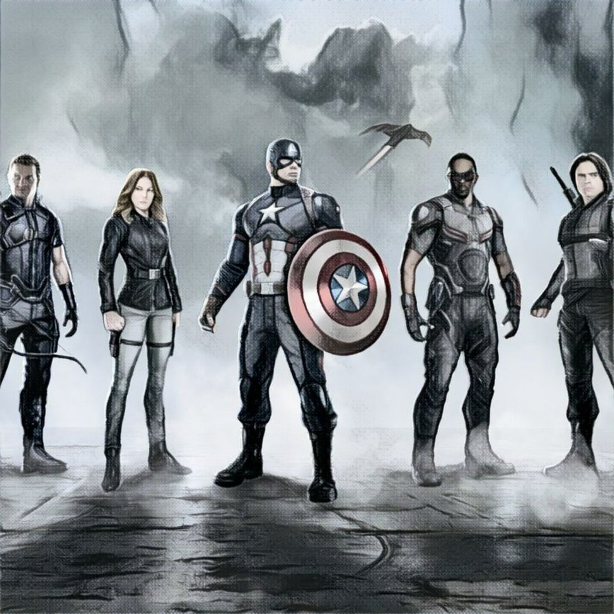 894x894 Captain America Civil War Drawing By Fantomvisual