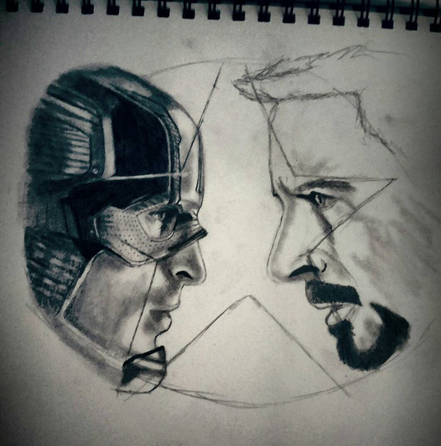 889x899 Captain America Civil War Drawing In The Making By Bigken20