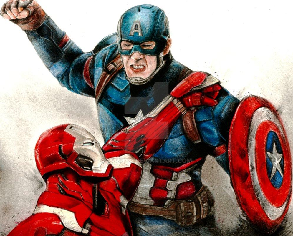 995x802 Civil War Drawing Captain America Iron Man By Pppriya