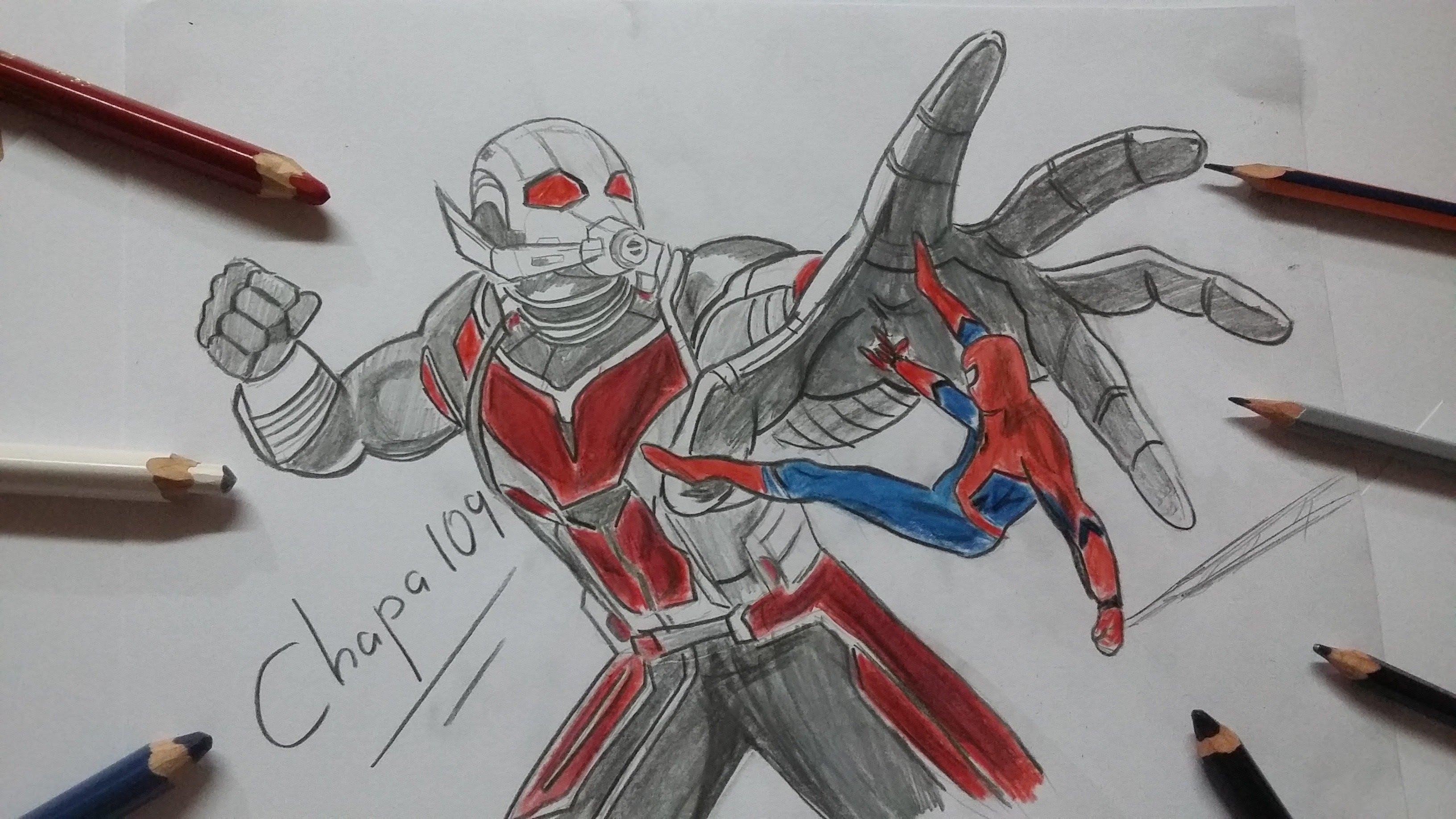 3264x1836 Dibujo De Ant Man Vs Spiderman Civil War Drawing Ant Man Vs