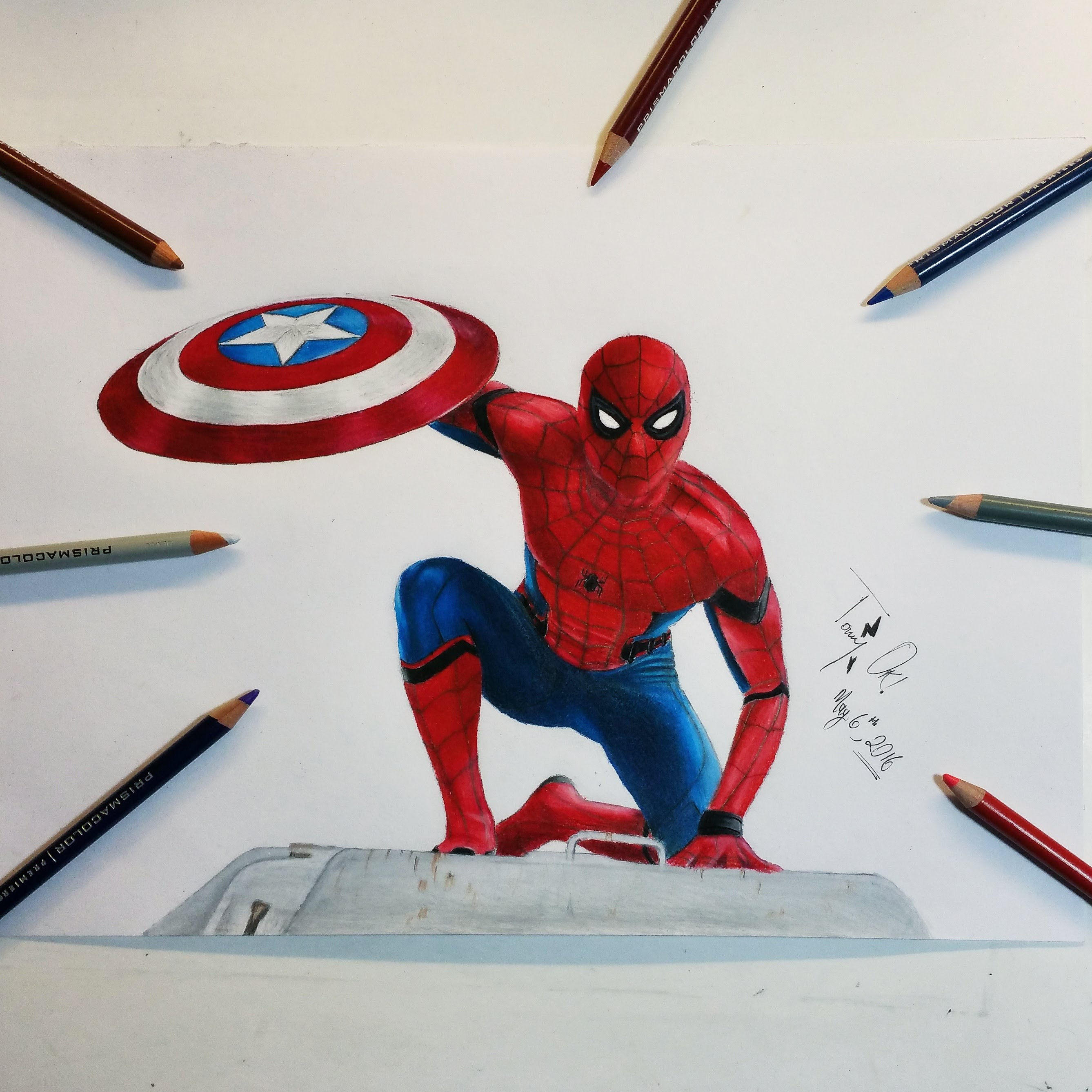 2675x2675 Drawing Spider Man Captain America Civil War Hd