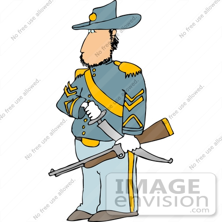 450x450 Civil War Calvary Officer Soldier With A Sword And Rifle Clipart