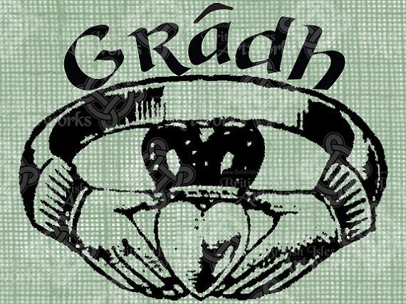 570x428 Digital Download Claddagh Ring Gaelic Love Gradh Digi Stamp