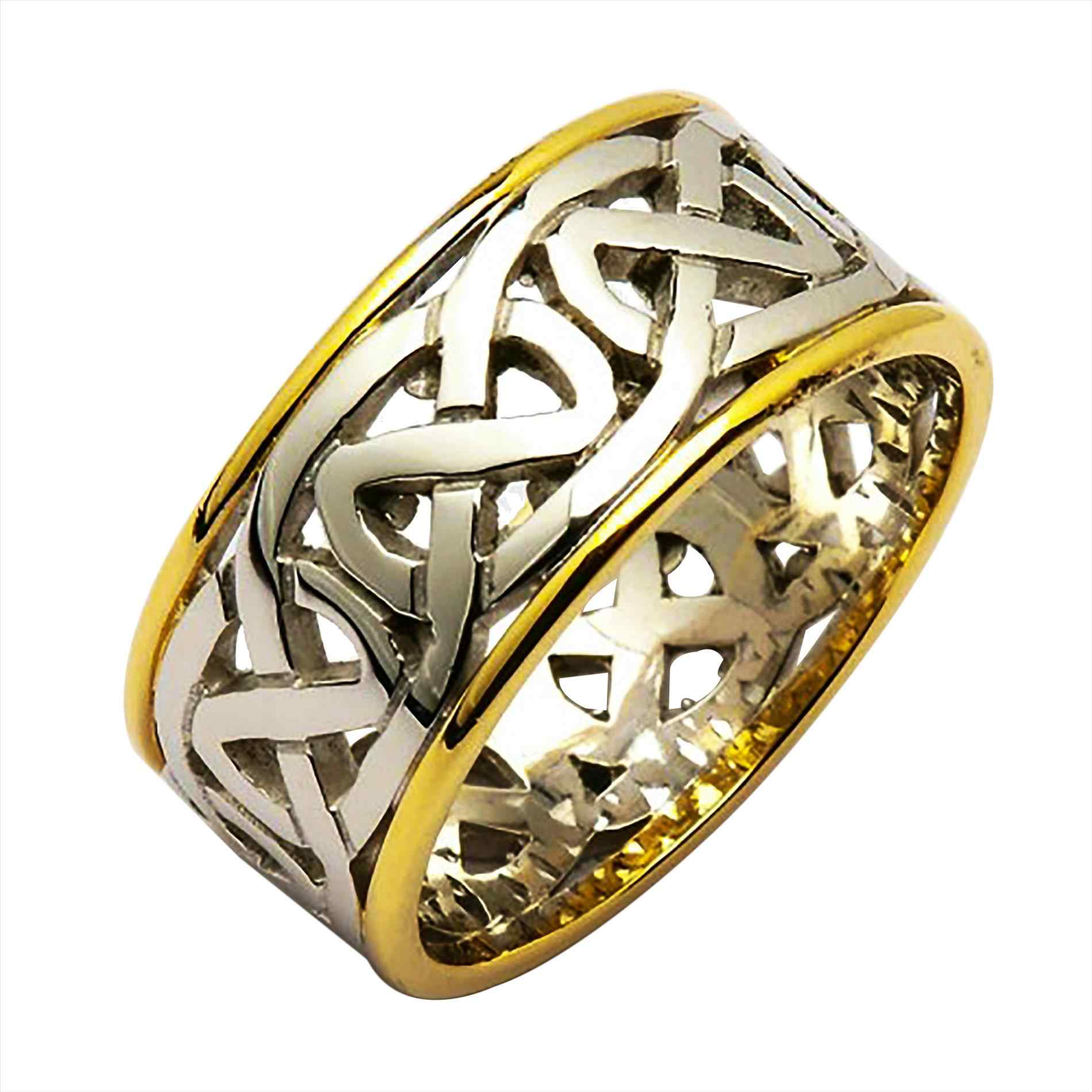 yellow claddagh wy ring white irish wedding celtic mens ladies gold coated rings gaelic adies silver