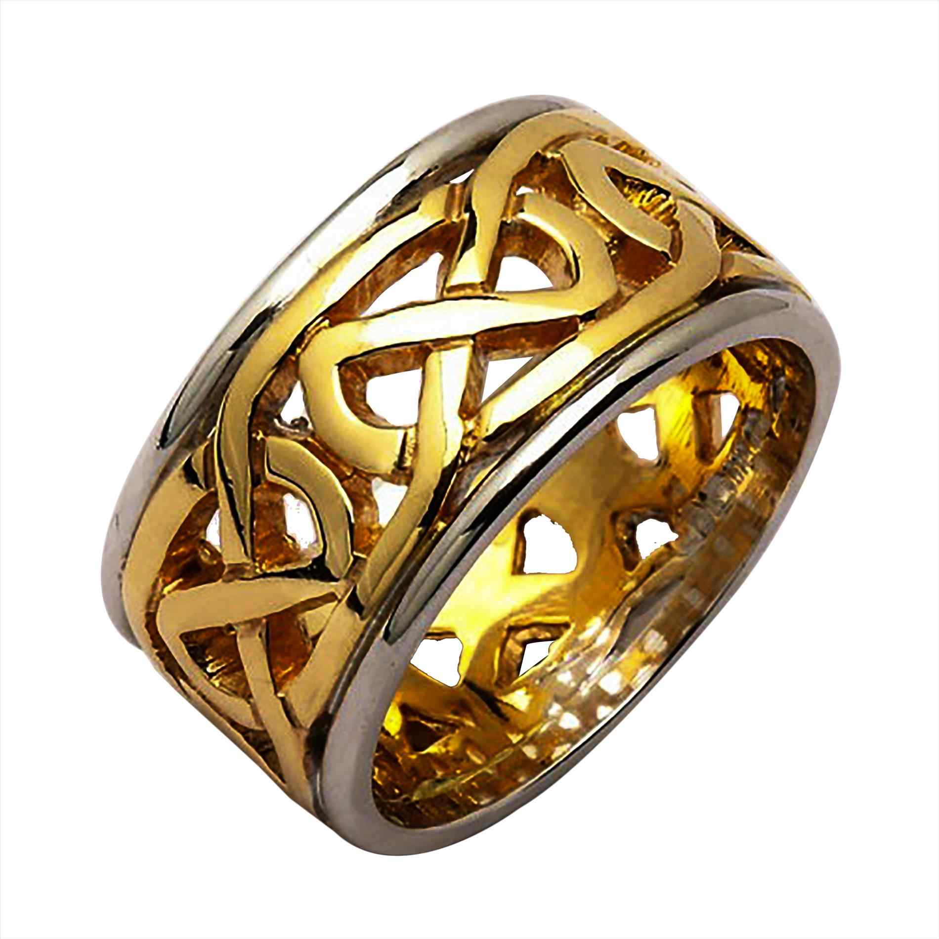 rind polished yellow wedding engraved band c textured gaelic nl for patterned designed rings gold bands and