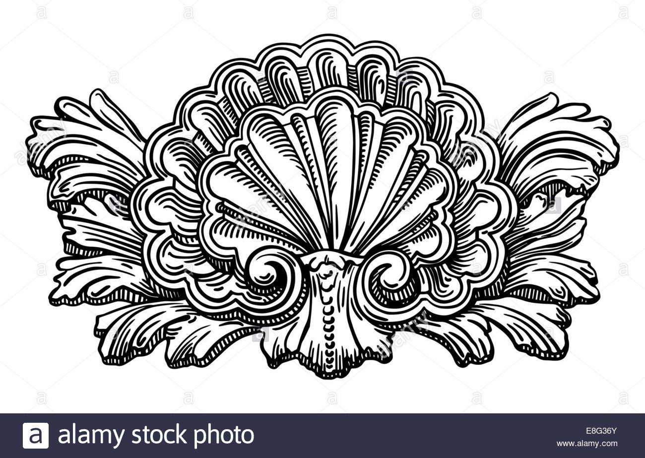 1300x923 Heraldry Clam Shell Sketch Calligraphic Drawing Isolated On Whit