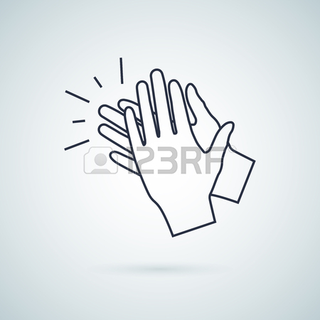 450x450 Applause, Clapping Hands Concept Flat Linear Illustration Isolated