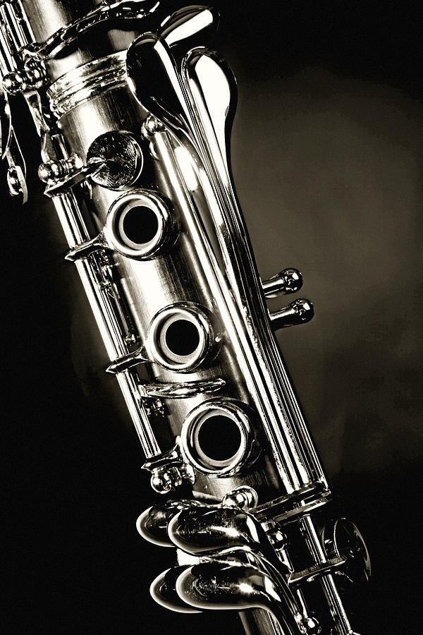 600x900 Clarinet Isolated In Black And White Photograph By M K Miller