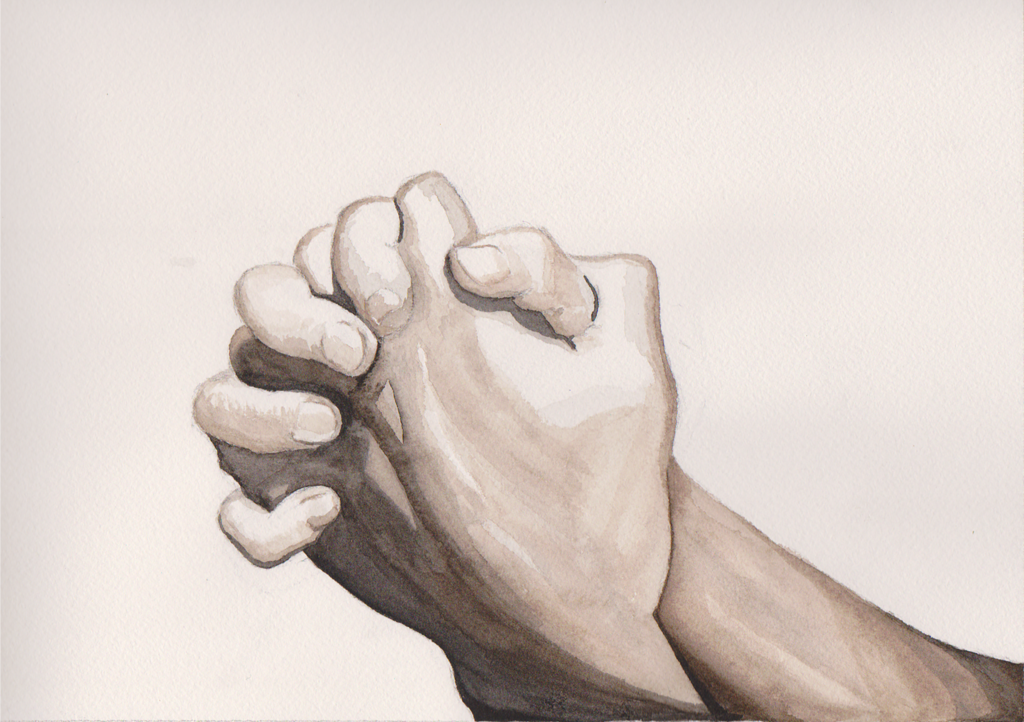 1024x722 Clasped Hands Watercolor Practice By Kittywillcutyou