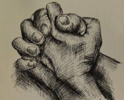 257x206 Pen Drawing Of Clasped Hands. Art Drawings