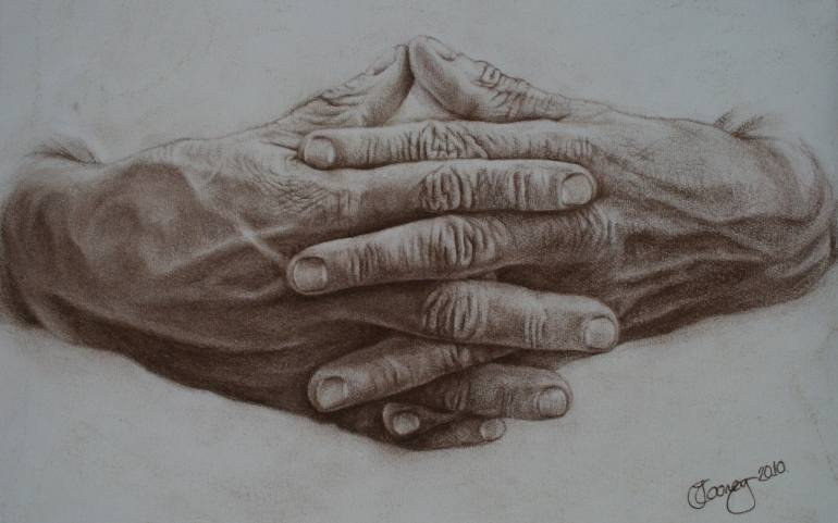 770x481 Saatchi Art Hands No. 1 (Hands Clasped) Drawing By Jane Cooney